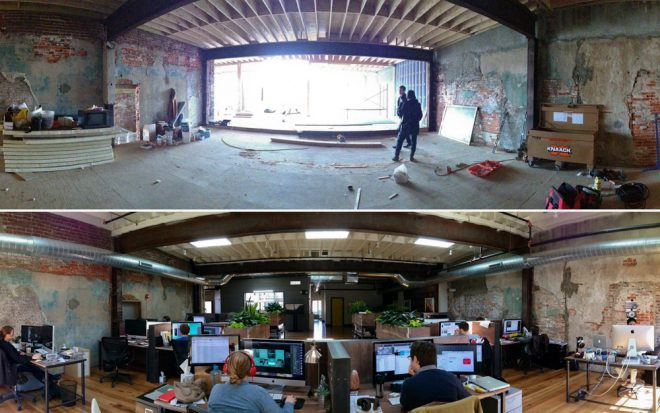 Before and after: Bluecadet buildout | Photo: courtesy of Bluecadet