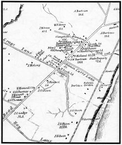 "Map of Part of Kingsessing Township, 1850 reproduced in William B. Fetters, ""Maximillian Leech of Blockley and Kingsessing"", 2003, p. 54. original Library Company?"
