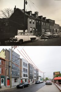 300 block of East Allen Street: in 1940 (top, Philadelphia City Archives) and 2016 (bottom, Bradley Maule). The four ~1800 wooden homes and the lot next to it were replaced by five, four-unit condo buildings.