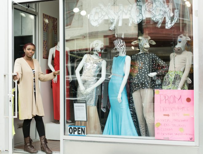 Owner Monica Monique Thompson outside her boutique, Oxymoron | Photo: Theresa Stigale