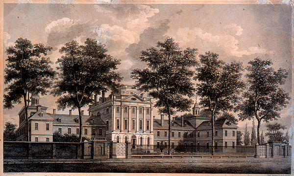 William Strickland's 1811 engraving of the Pennsylvania Hospital. | via Wikimedia