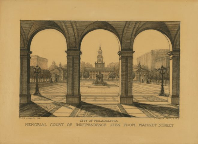 """Drawing by landscape architect acques Gréber of plans to surround Independence Hall with with a palladian arcade and leveling a complete block north of Chestnut Street for a """"Great Marble Court for Public Gatherings."""" 