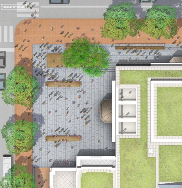 Rendering of the Museum of the American Revolution's outdoor public plaza, set to open on September 15