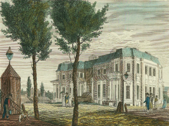 "William Birch's engraving of ""an unfinished house, in Chestnut Street,"" 1800 