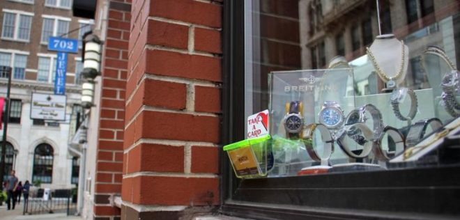 Jewelers Row storefront window, looking east | Plan Philly