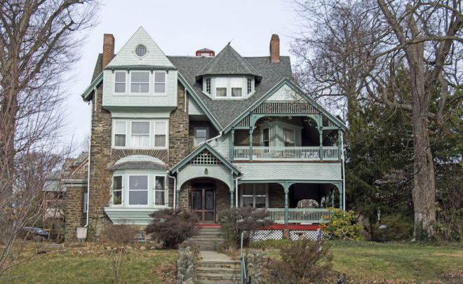 6135 Wayne Avenue, built 1886. Architects Hewitts executed five designs playing off of similar floor plans, while providing a variety of details and bold geometry. 6135 was once owned by James R. Wood, general ticket agent for the Pennsylvania Railroad.