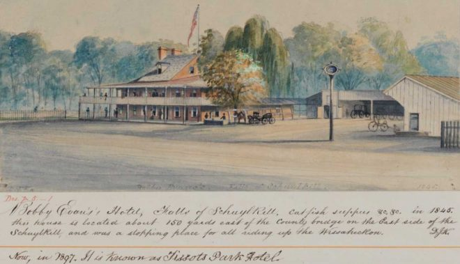 A colored print of Bobby Evans's Hotel by David J. Kennedy; the tavern was known as Tissot's Park Hotel from the 1850s to the 1890s | Courtesy of Darren Fava, Philadelphia Parks and Recreation