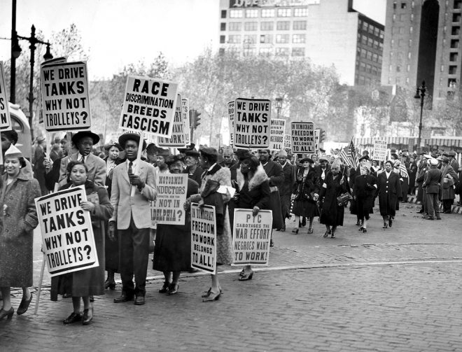 Philadelphia Transit Company protest supporting minority transit drivers at Reyburn Plaza in Center City Philadelphia on November 8, 1943. | Photo: John Mosley, courtesy of the Charles L. Blockson Afro-American Collection