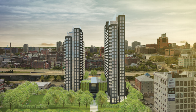 Developer Mark Rubin will bring 454 apartment units to 4th & Callowhill Streets by right of the East Callowhill overlay | Rendering: Cecil Baker + Partners