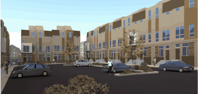 Rendering of parking lot for the Bridgeview townhomes at Swanson & Catherine Streets in Queen Village | Bridgeview Philly