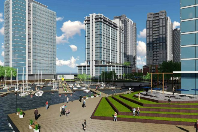 """""""Rendering of Liberty on the River proposal as seen from northernmost pier.""""   Barton Partners"""