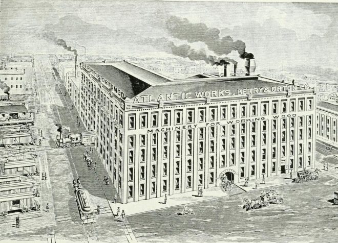 Rendering of the full-size version of the Berry & Orton Atlantic Works | Source: Philadelphia and Popular Philadelphians