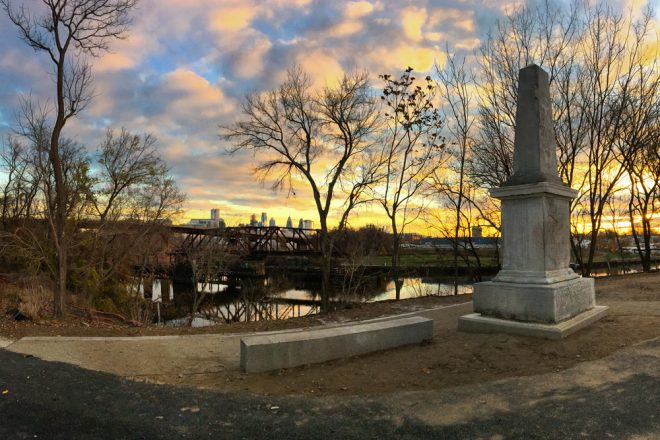 Dawn of a new day: the Newkirk Viaduct Monument at a new but old familiar location   Photo: Bradley Maule