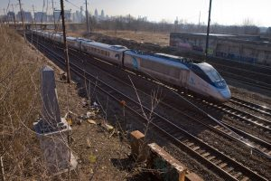 March 2013: Amtrak's southbound Acela speeds past Newkirk Monument, then not even a roadside attraction   Photo: Bradley Maule
