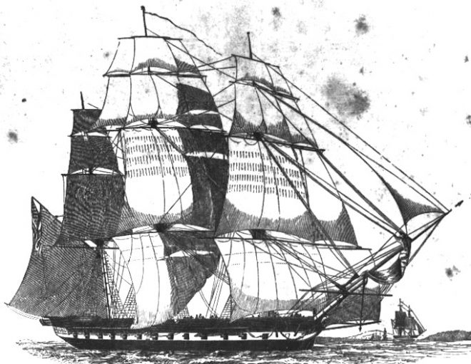 """The USS United States (1797), built at Joshua Humphreys' Southwark yard, was the first American warship launched under the U.S. Constitution, as well as the first American frigate and the first naval vessel christened """"United States."""" From http://wikivisually.com."""
