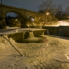 Wissahickon Creek, spillway by night