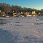 Boathouse Row and Schuylkill snow dunes at sunrise