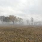 Penn Treaty Park in the fog