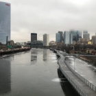 Late day on a glassy Schuylkill, South Street Bridge view