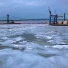 A mostly frozen Delaware River and Walt Whitman Bridge from Proprietors Park in Gloucester City, NJ