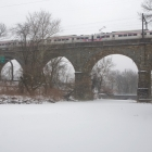 SEPTA regional rail train bound for Norristown, crossing Wissahickon Creek