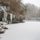 Icicles form below upper Robeson dam on Wissahickon Creek