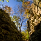 The Orange Trail passes through dramatic Wissahickon schist formations