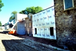 The back of Merrick Hall. From here we see the additional permanent housing being built for homeless teenage mothers.