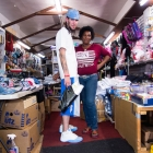 A customer and employee inside Willy's Variety Store