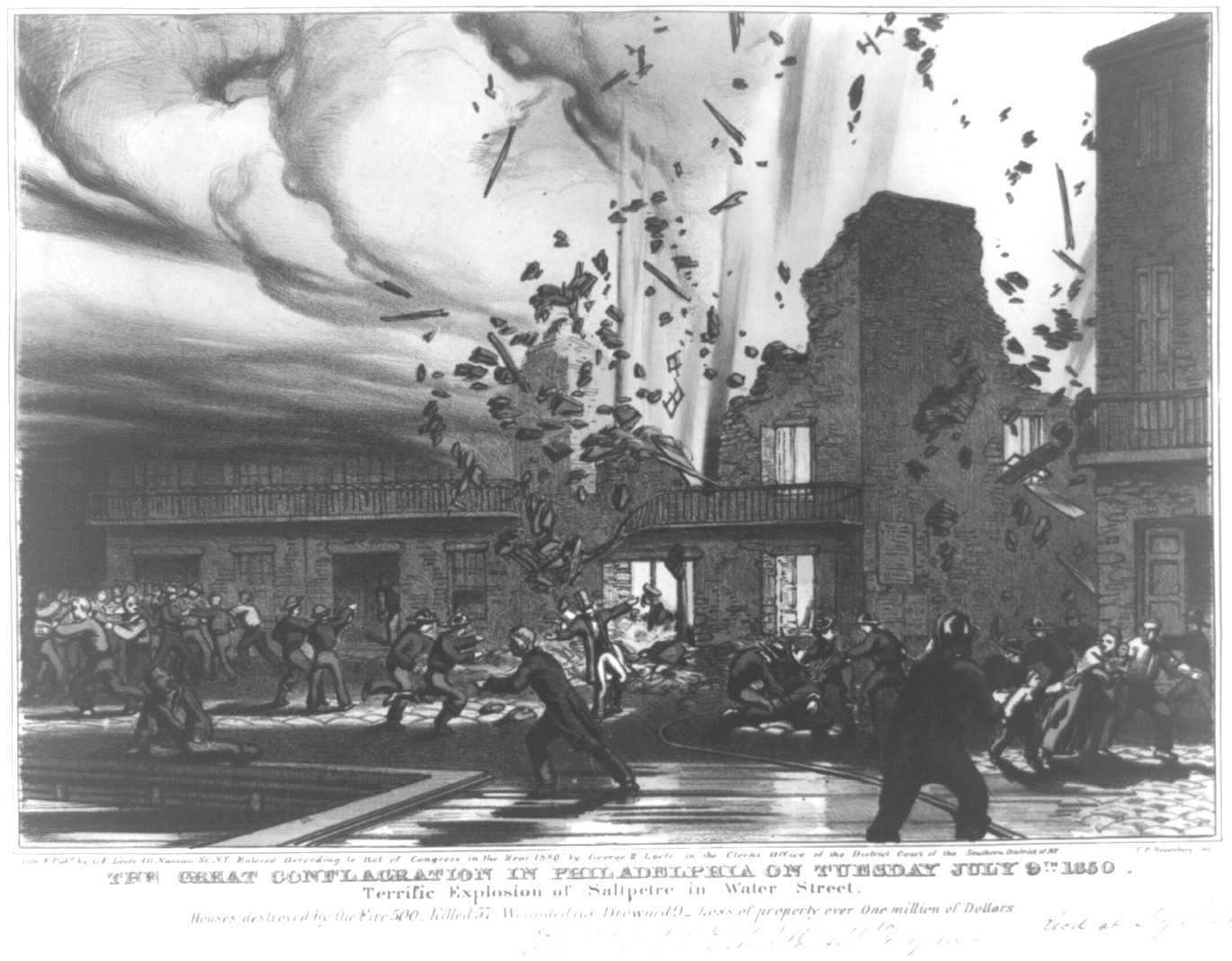 """""""The Great Conflagration in Philadelphia on Tuesday, July 9th, 1850.""""  Library of Congress."""