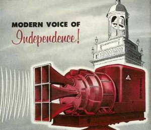 From an ad for a Chrysler Air Raid Siren, Industrial Engine Division, Chrysler Corporation, appearing in  The American City Magazine, September 1952.