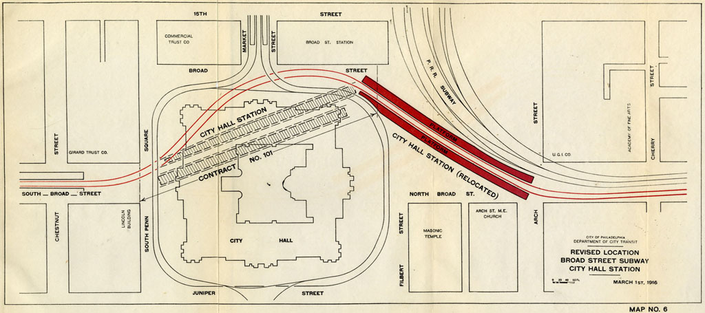 Plan for relocating City Hall Station, March 1916