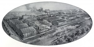 JG Brill plant birds-eye-view circa 1895