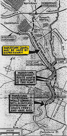 1962 Expressway Map Philadelphia Inquirer