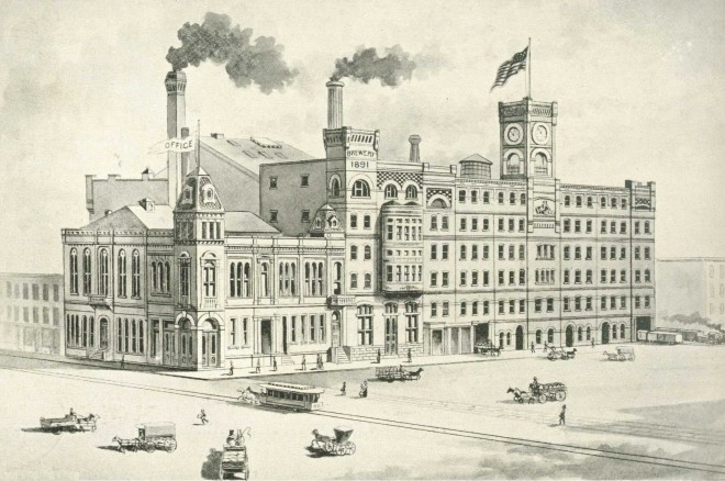 The Betz Brewery, between Callowhill and Willow, facing Crown Street. The Concordia Theater (formerly the City Museum) appears as part of the brewery and is the smaller, plainer structure on the far left. From Philadelphia and Popular Philadelphians (1891).
