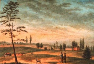 Supposed vicinity of the Bush Hill estate, site of formal ceremonies of the 1788 Grand Federal Procession. The Benjamin Franklin Parkway would be around the viewer's point of view. Painting by August Köllner.