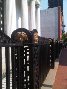 The fence of St. George's Greek Orthodox Cathedral, very likely original to 1823.