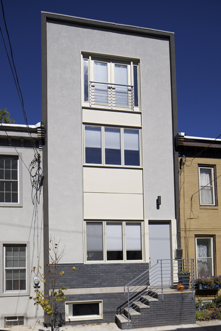 Grad hospital contemporary row house architecture hidden for Modern homes philadelphia