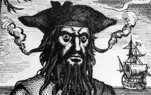 Blackbeard, aka, Edward Teach (1680-1718). From http://geektyrant.com/news/2010/2/22/ian-mcshane-cast-as-blackbeard-in-pirates-of-the-caribbean-4.html