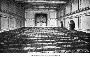 The first-floor auditorium, from Souvenir Commemorating the Dedication of the Odd Fellows Temple (1895).