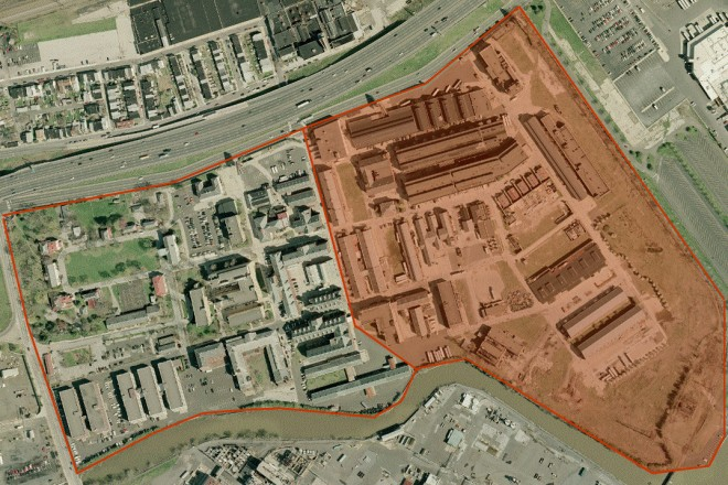 Aerial view of the Frankford Arsenal, 2004. Demolished area highlighted in red