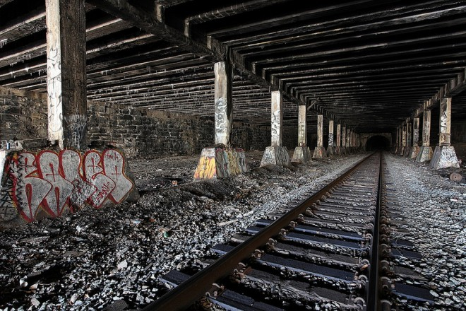Active freight tunnel that runs alongside the abandoned City Branch line (at left)