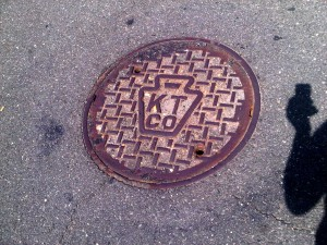 A manhole cover of Keystone Telephone Company of Philadelphia, still in service today in Northern Liberties.