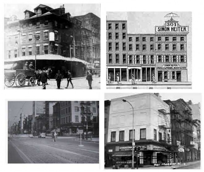historic images 301 Market Street. (images are from a variety of sources, as collected at www.brynmawr.edu/cities/archx/05-600/proj/p1/grps/web-content/301-305.htm)