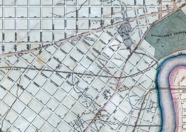 Existing roads appear in tan; planned street grid outlined in black. The headwaters of Perch Creek reach the foot of today's S. St. Bernard Street. | Atlas of Philadelphia (Smedley, 1863) via HistoricMapWorks.com