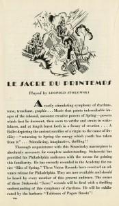 1930 Victor Records Advertisement for Stokowski/Philadelphia Orchestra recording of The Rite of Spring (Le Sacre du Printemps)
