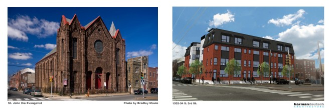 Before & after? 1332-34 South 3rd Street. Left: St. John the Evangelist, photo by Bradley Maule; Right: proposed townhomes, image by Harman Deutsch Architecture