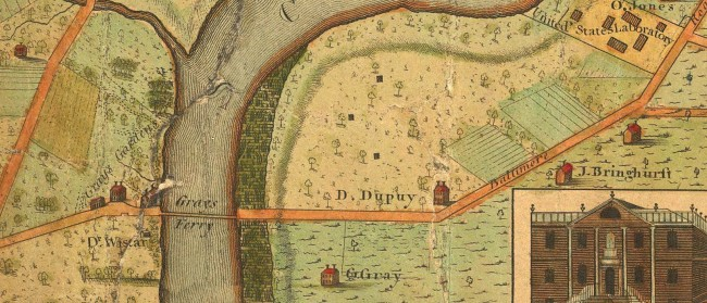 1802: The southernmost ferry across the Schuylkill sat just below Mill Creek, a few miles southwest of Philadelphia's borders. (Map: Charles P. Varle/David Rumsey Collection)