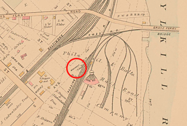 1886: map of West Philadelphia (Baist). Red circle: Newkirk Viaduct Monument.