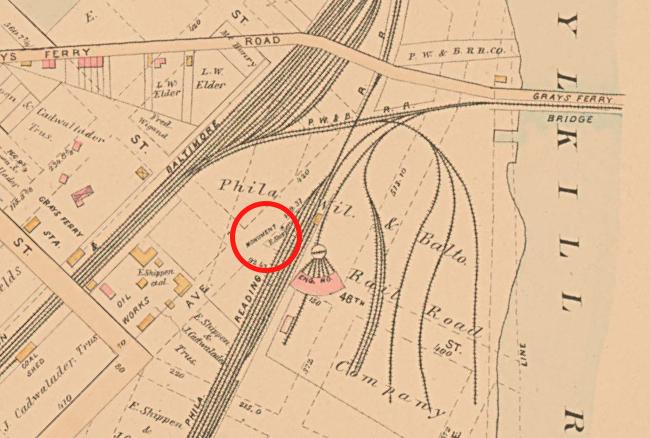1886: map of West Philadelphia (Baist). Red circle: Newkirk Viaduct Monument.